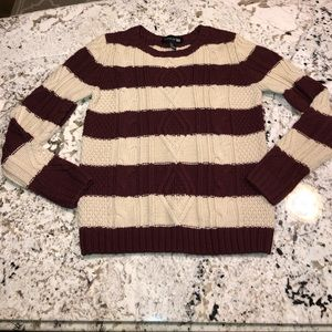 Maroon and cream striped sweater
